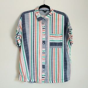 Multi-Color Short Sleeve Striped Button-Down